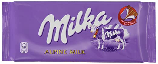 Milka Alpine Milk Chocolate Bar 100 g (Pack of 22): Amazon.co.uk ...