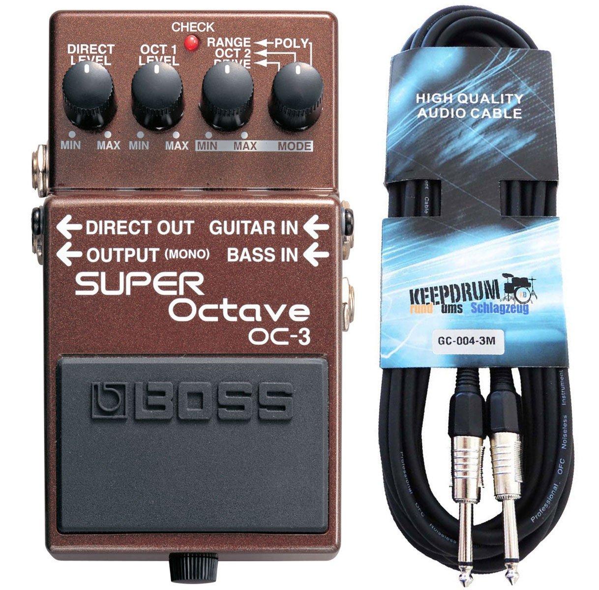 Boss OC-3 Super octava Efecto gerä T + Keepdrum Guitarra Cable 3 m ...