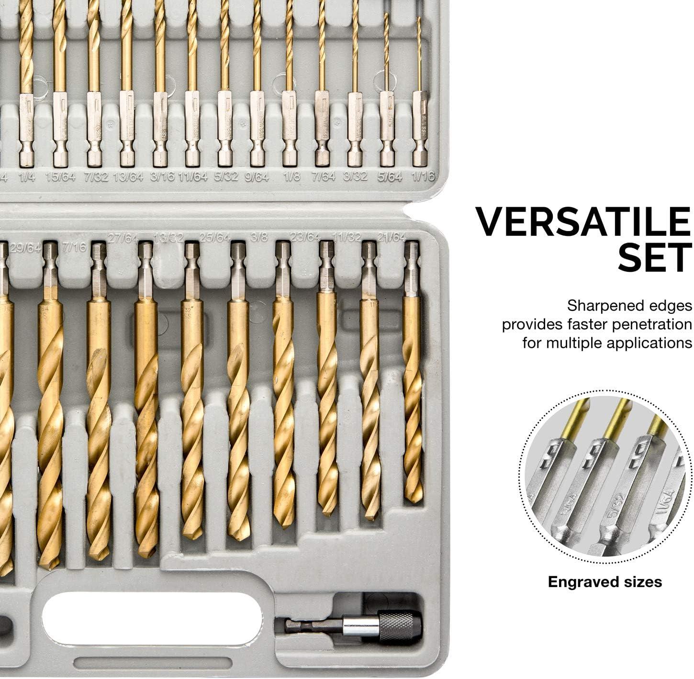 30 Pcs Hex Shank HSS COMOWARE Titanium Impact Drill Bit Set Quick Change Desi