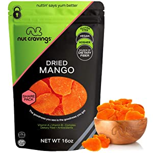 Sun Dried Mango Slices, with Sugar Added (16oz - 1 Pound) Packed Fresh in Resealable Bag - Sweet Dehydrated Fruit Treat, Trail Mix Snack - Healthy Food, All Natural, Vegan, Gluten Free, Kosher