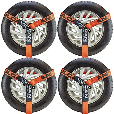 VULCAN Universal O-Ring Wheel Dolly Tire Harness - 2 Inch x 96 Inch, 4 Pack - PROSeries - 3,300 Pound Safe Working Load: Automotive