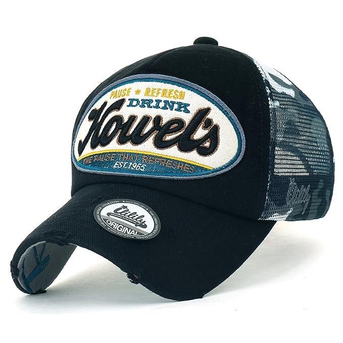 330adb62 ililily Howel's Camouflage Baseball Mesh Cap Distressed Vintage Trucker Hat  (Medium, Black)