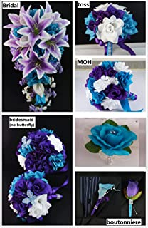 Amazon wedding flower package 13pc jade light teal and silk flower wedding package6 bouquets6 boutonneires2corsages mightylinksfo