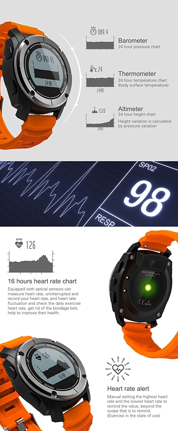 Amazon.com: BOND S928 GPS Watch Real-time Heart Rate Tracker ...