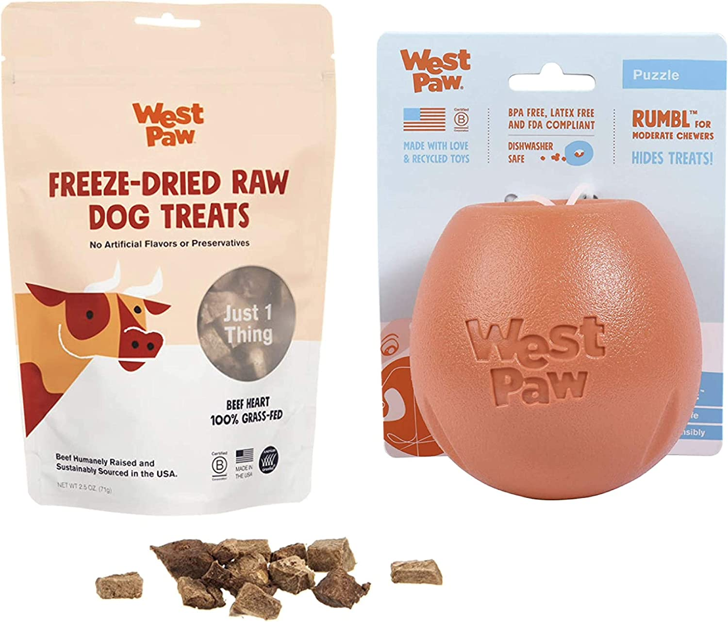 West Paw Beef Heart Freeze-Dried Raw Dog Treats, 100% Grass Fed & Zogoflex Rumbl Treat-Dispensing Dog Toy for Moderate Chewers, Fetch, Catch – Holds Kibble, Treats (Melon, Large)