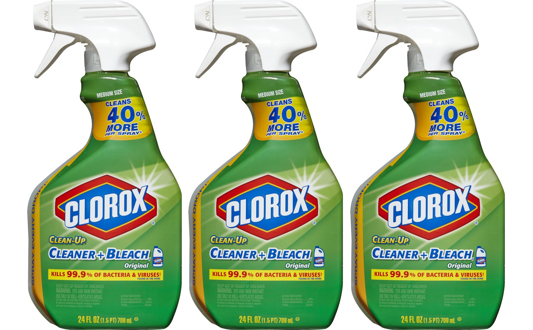 Clorox Clean-Up Bleach Cleaner Spray Value Pack Of 3 44600319124