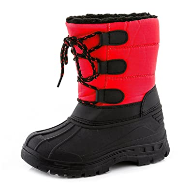db53c41d7a09 Snow Tec Blizz-4 Girls Winter Snow Boots with Vegan Fur Lining Red Size 1