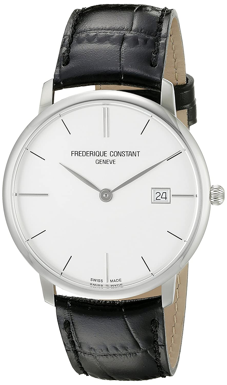 Frederique Constant Slimline Herren-Armbanduhr 38 -4mm Armband Leder GehÄuse Edelstahl Batterie 220S5S6