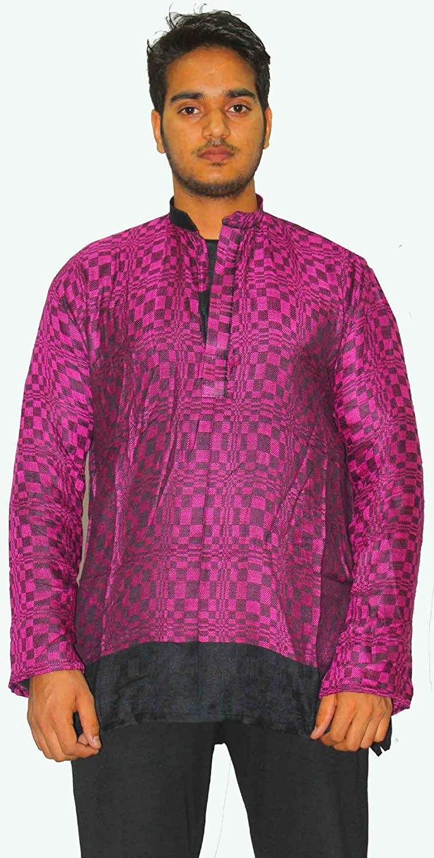 Lakkar Haveli Indian Pashmina Rayon Men/'s Kurta Shirt Handloom Plus Size Loose Fit.Purple Color