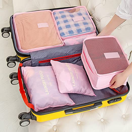 6Pc Waterproof Clothes Storage Bags Packing Cube Portable Travel Organizer Pouch