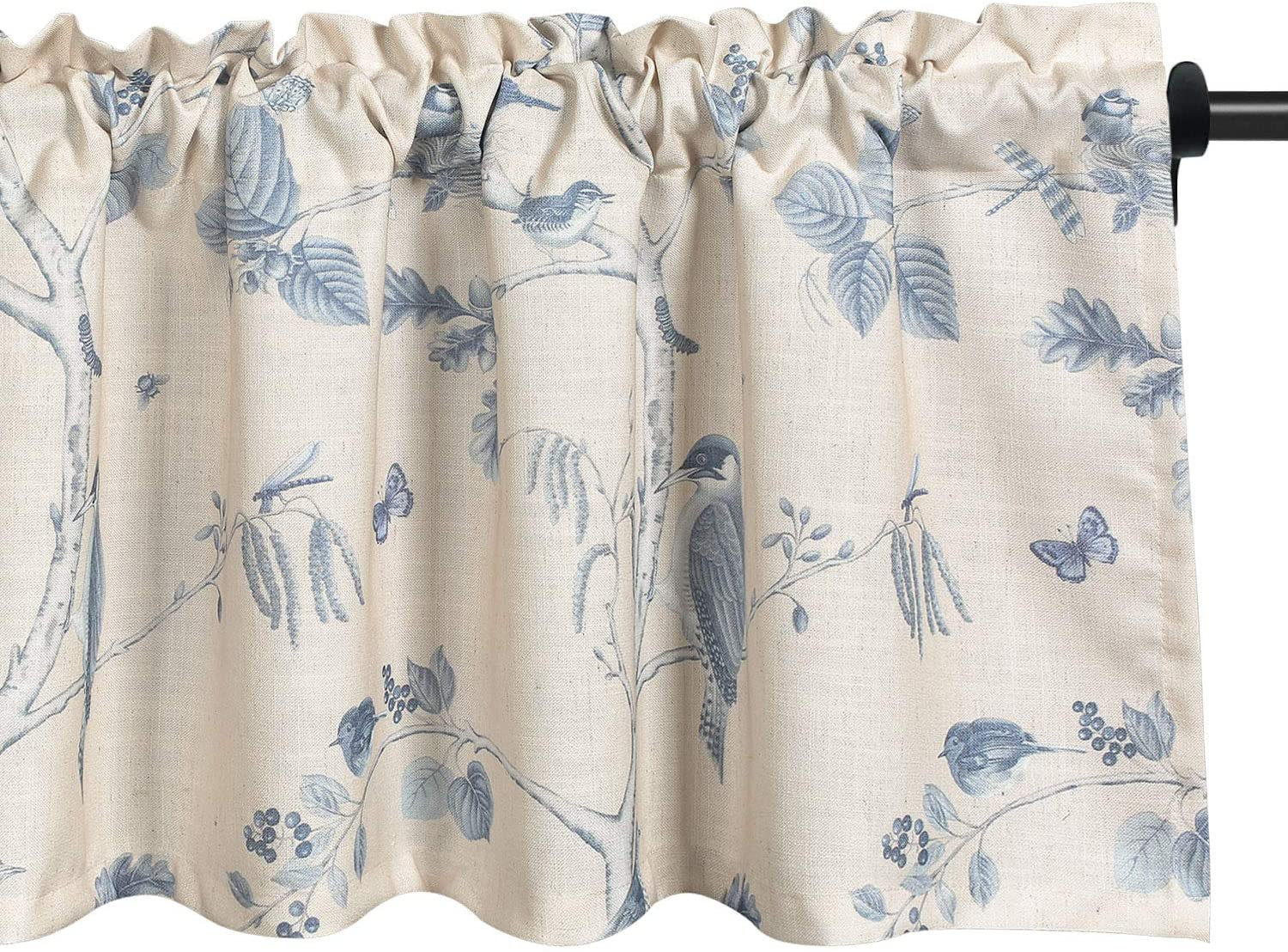 VOGOL Plant Pattern Valance Rustic Country Printed Curtains for Living Room, Top Pocket Birds Artist Window Valances for Kids Room Farmhouse, One Panel, 52 X 18 Inch, Blue