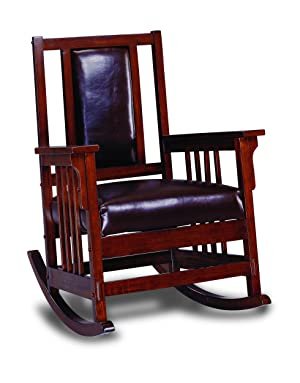 ... Style Solid Wood And Leather Based Rocking Chair. It Has A Dark Oak And  Brown Finishing. Made Out Of Genuine Natural Leather And High Quality Wood.