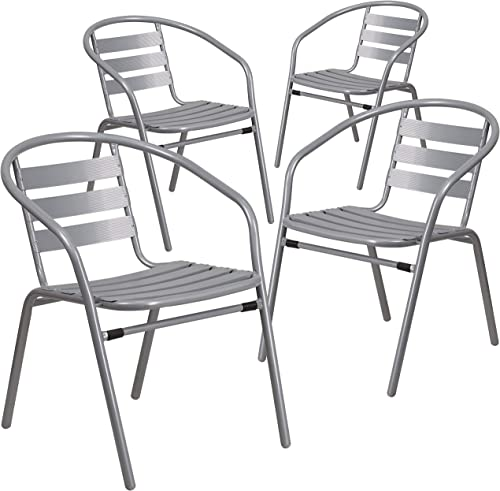 Flash Furniture 4 Pack Silver Metal Restaurant Stack Chair