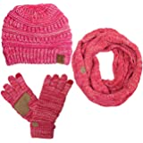 a0aa51b77ed ScarvesMe CC 3pc Multi Tone Trendy Warm Chunky Soft Stretch Cable Knit  Beanie, Scarves and