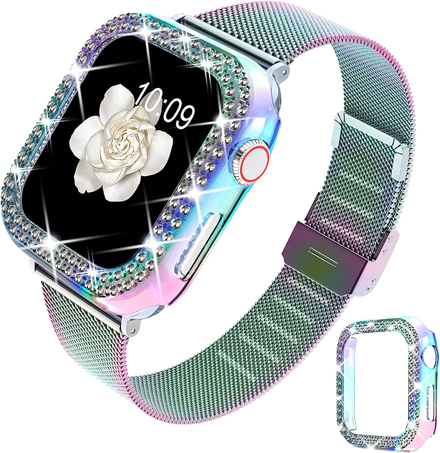 DABAOZA Compatible for Apple Watch Band 38mm 42mm with Case, Women Girls Stainless Steel Mesh Loop Strap Thin Silm Metal Replacement Wristband with Bling Cover for iWatch Series 3 2 1