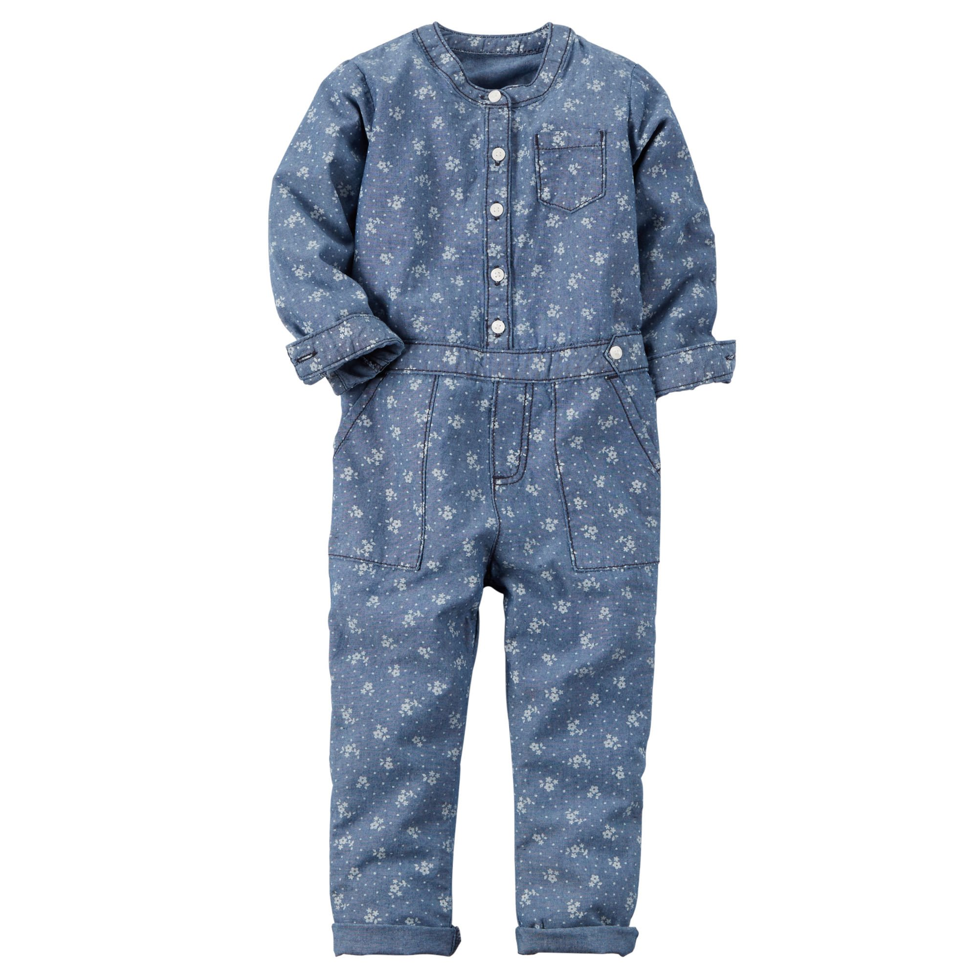 Carter's Girl's Blue Floral Print Chambray Jumpsuit (3T)