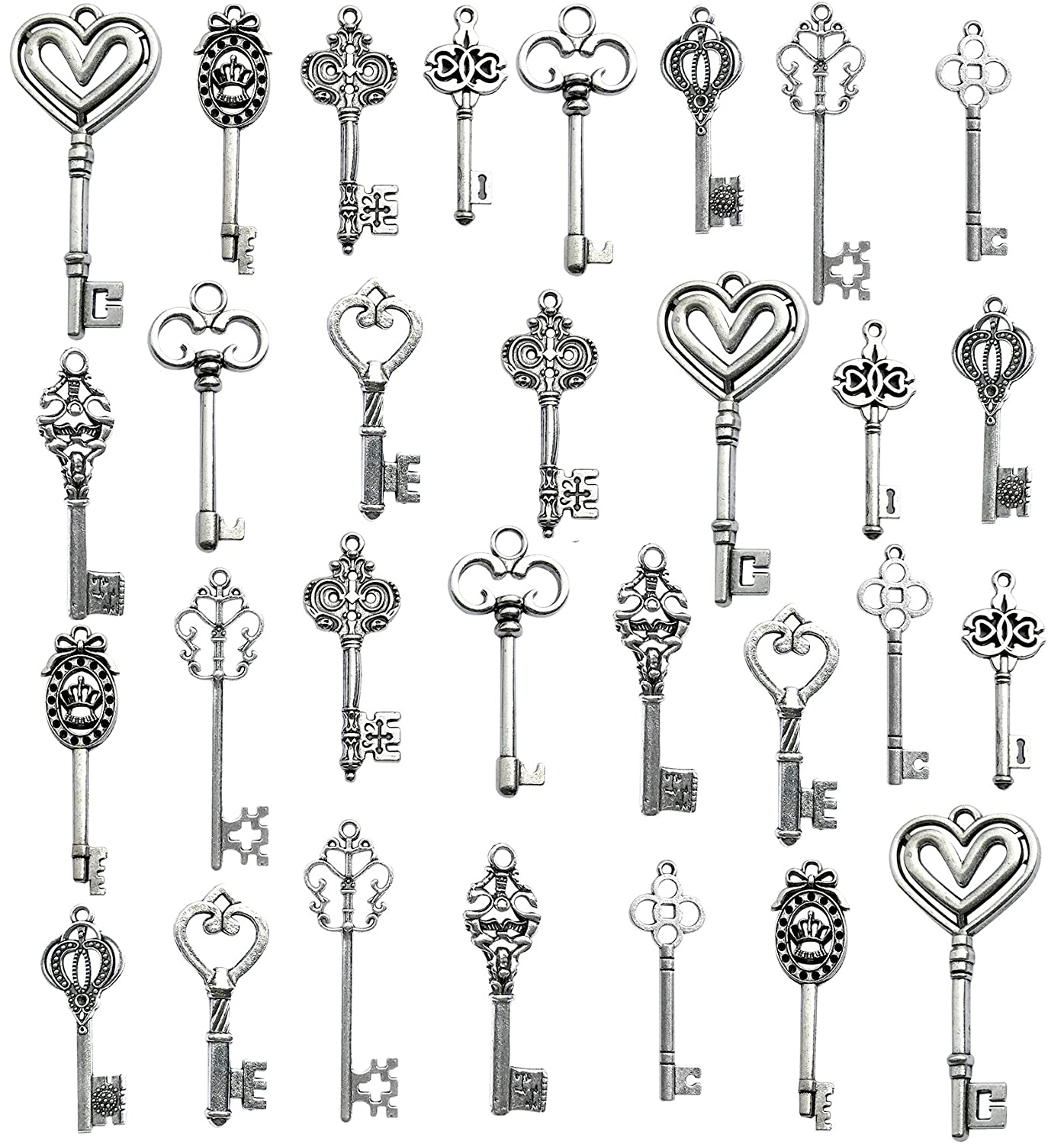Korlon Mixed Set of 30 Antique Silver Vintage Skeleton Keys - Decorative Old Fashioned Key for Necklace Bracelets Pendants Jewelry DIY Making Supplies Party Favors - 10 Different Style CLN-039-2