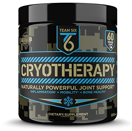 T6 Cryotherapy – Natural Joint Support Supplement Arthritis Pain Relief, Anti Inflammatory Cartilage Repair Bone Strength Type 2 Collagen Pills Curcumin with Bioperine Boswellia Extract,30Sv