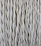 Câble électrique tressé recouvert de tissu coloré. Made in Italy! 5 mètres 2x0, 75 couleur: ivoire