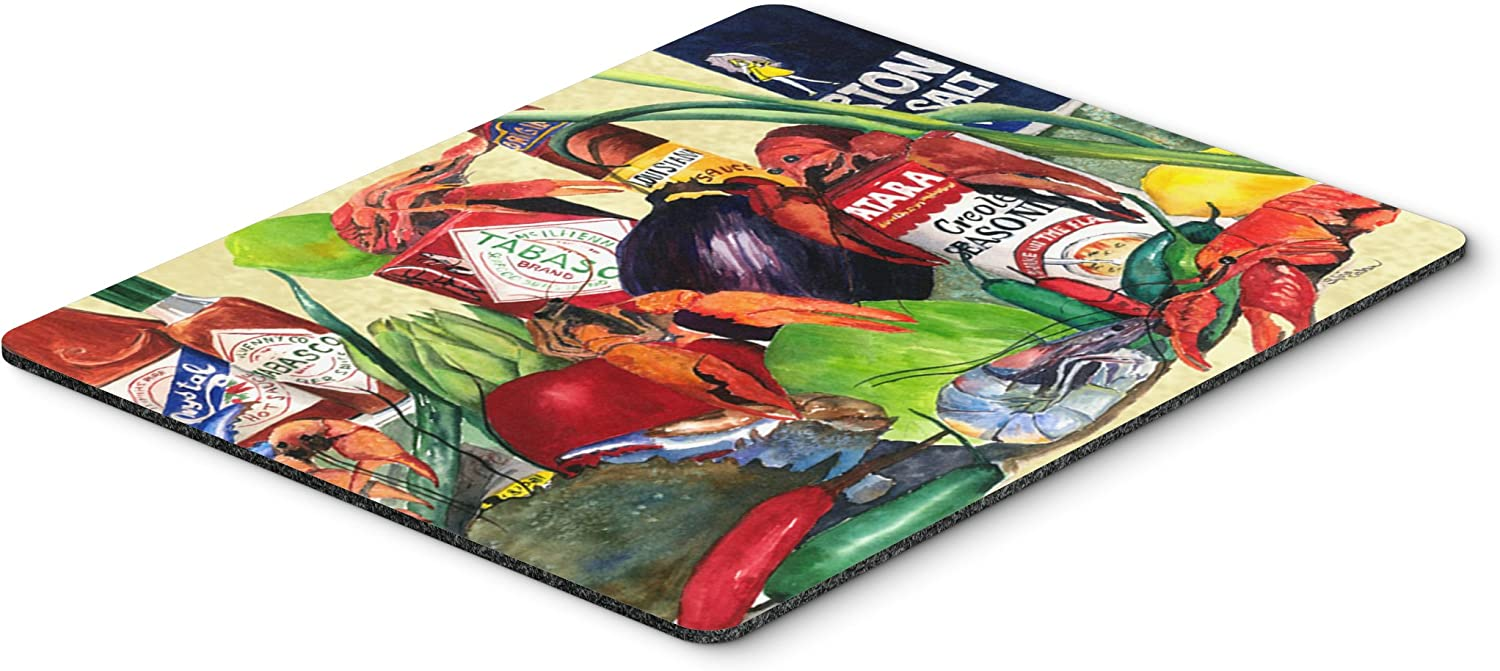 Multicolor Carolines Treasures 1020MP Spices and Crawfish Mouse pad Large hot pad or Trivet