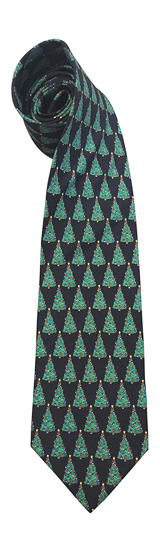 Christmas Tie 100/% Silk Xmas Trees White Christmas Holiday Green 135