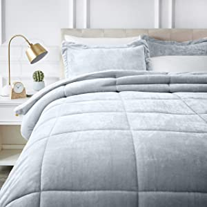 AmazonBasics Micromink Sherpa Comforter Set - Ultra-Soft, Fray-Resistant -Full/Queen, Grey