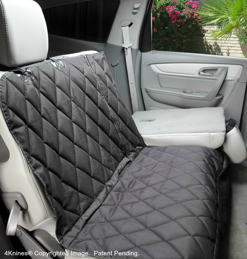 Dog Seat Cover with Hammock For Fold Down REAR BENCH SEAT 60/40 split and middle seat belt capable - Black Extra Large - For Full Size Trucks and Large SUVs - USA based company