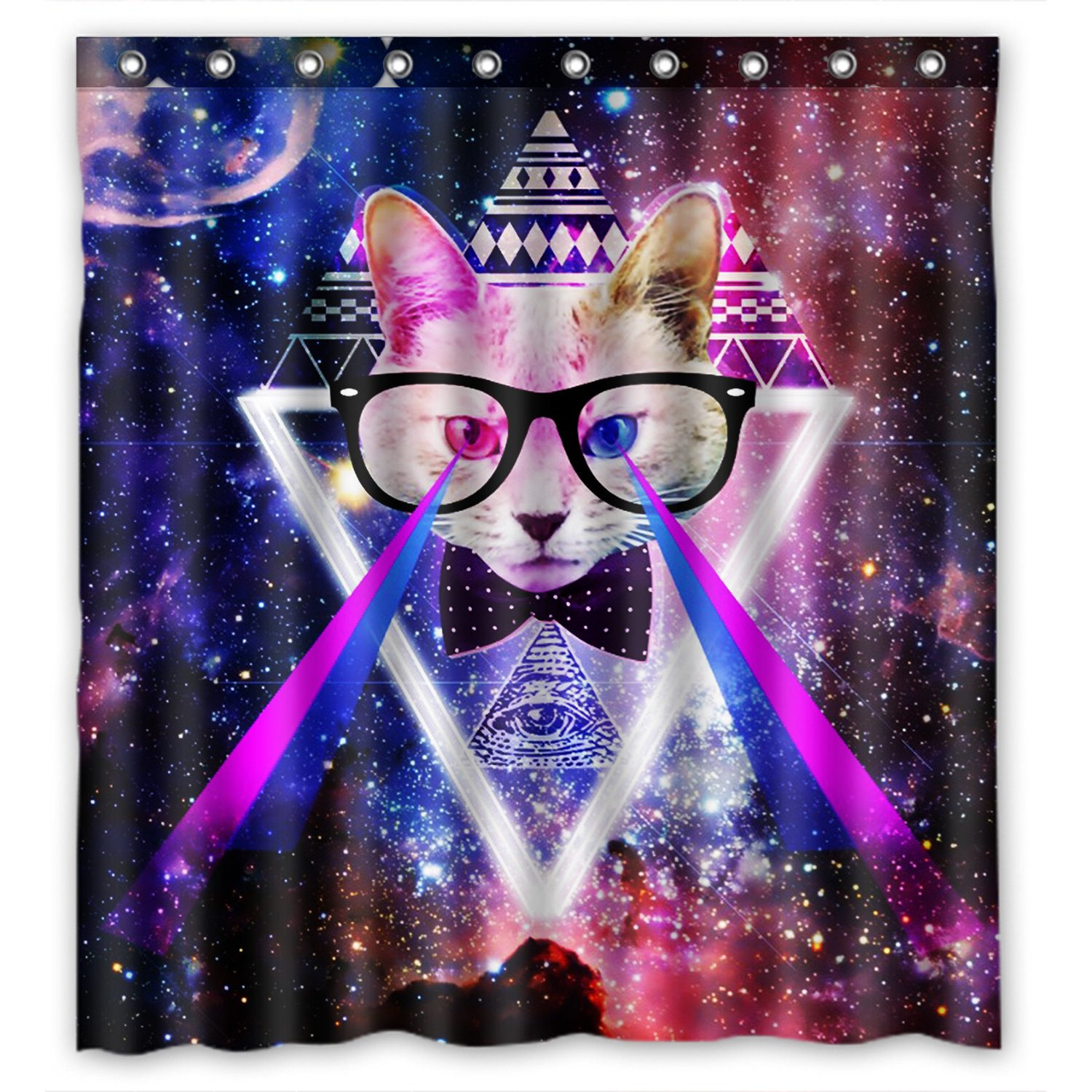 Amazon KXMDXA Space Cat Waterproof Polyester Shower Curtain 66x72 Inch Bathroom Decor Home Kitchen
