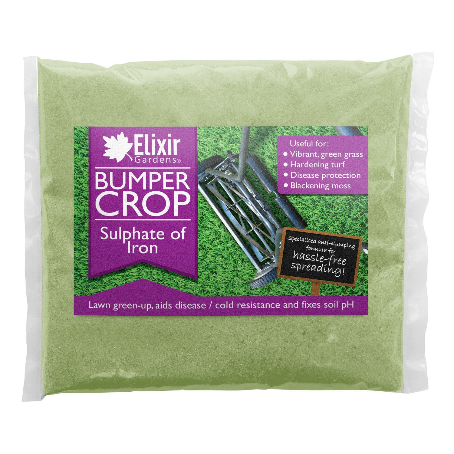 Bumper Crop Sulphate of Iron | Moss Killer/Lawn Tonic | 1kg, Polythene Bag by Elixir Gardens ®