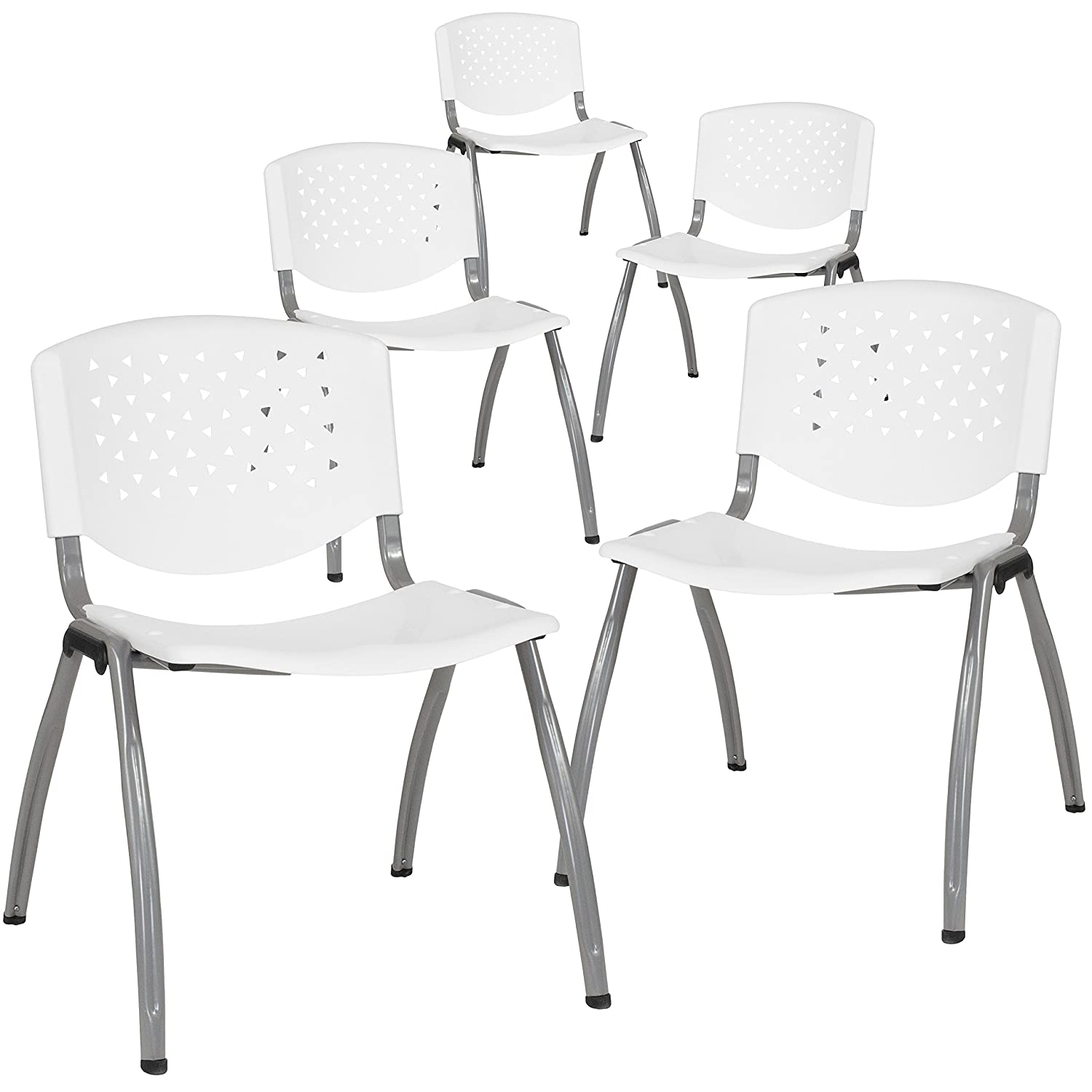 Flash Furniture 5-RUT-F01A-WH-GG White Plastic Stack Chairs, 5 Pack,