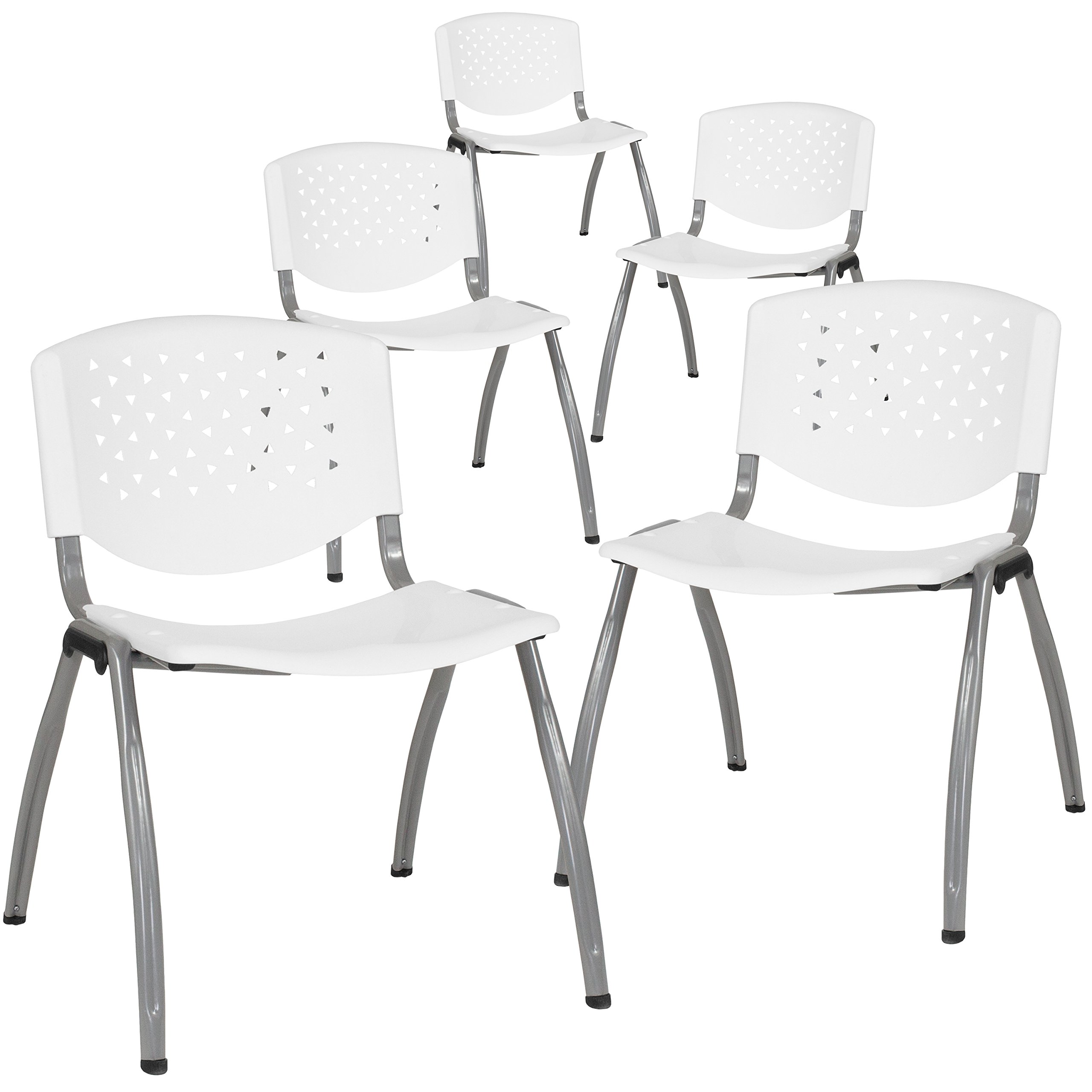 Flash Furniture 5-RUT-F01A-WH-GG White Plastic Stack Chairs, 5 Pack, by Flash Furniture