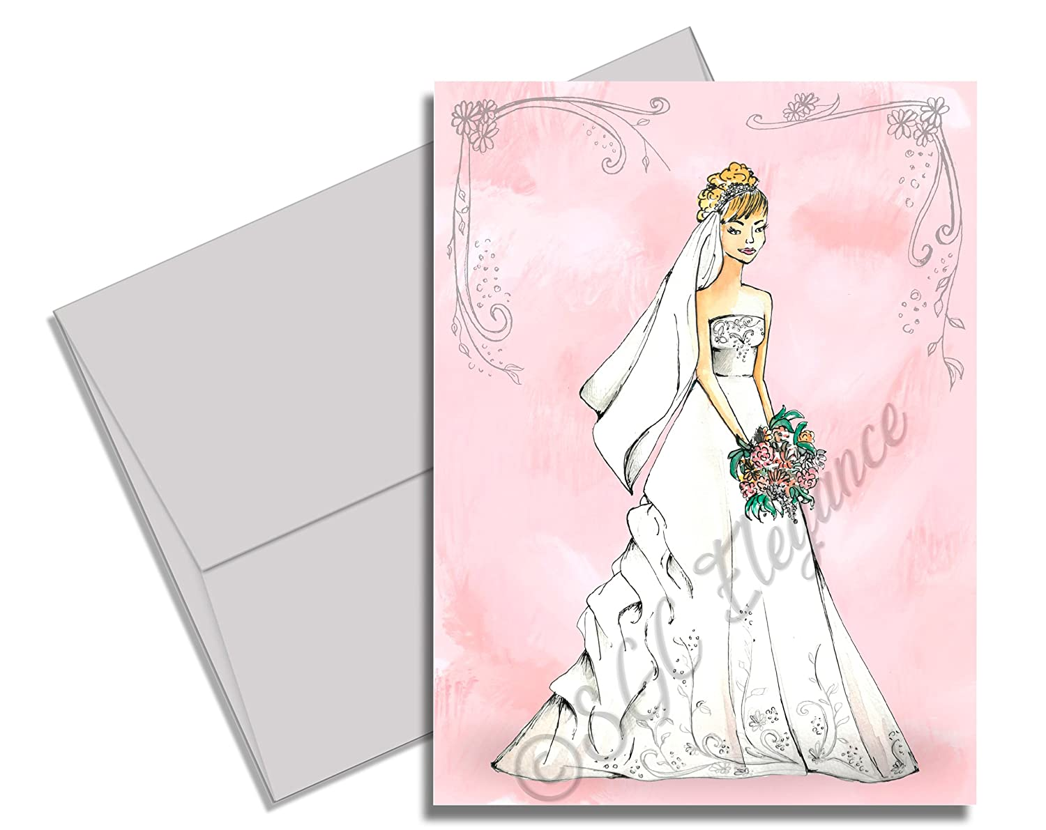5 x 7 Fill-In Style Bridal Shower Invitations Pink Gray Printed on 14 pt Card Stock Elegant Bride w//light or dark hair Set of 20 Cards w//soft gray A7 Envelopes Watercolor Florals Dark Hair