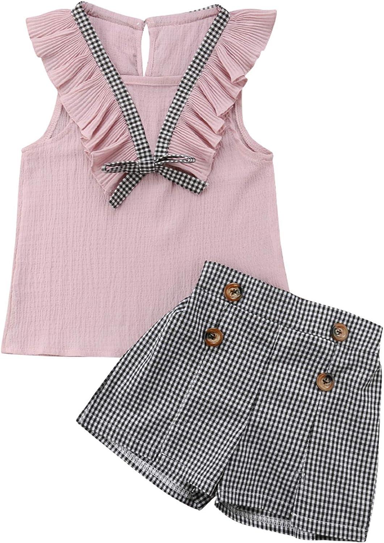 Diadema Falda de Tirantes DaMohony 3 Piezas Ropa para ni/ñas Traje de ni/ña Camisa a Rayas con Volantes