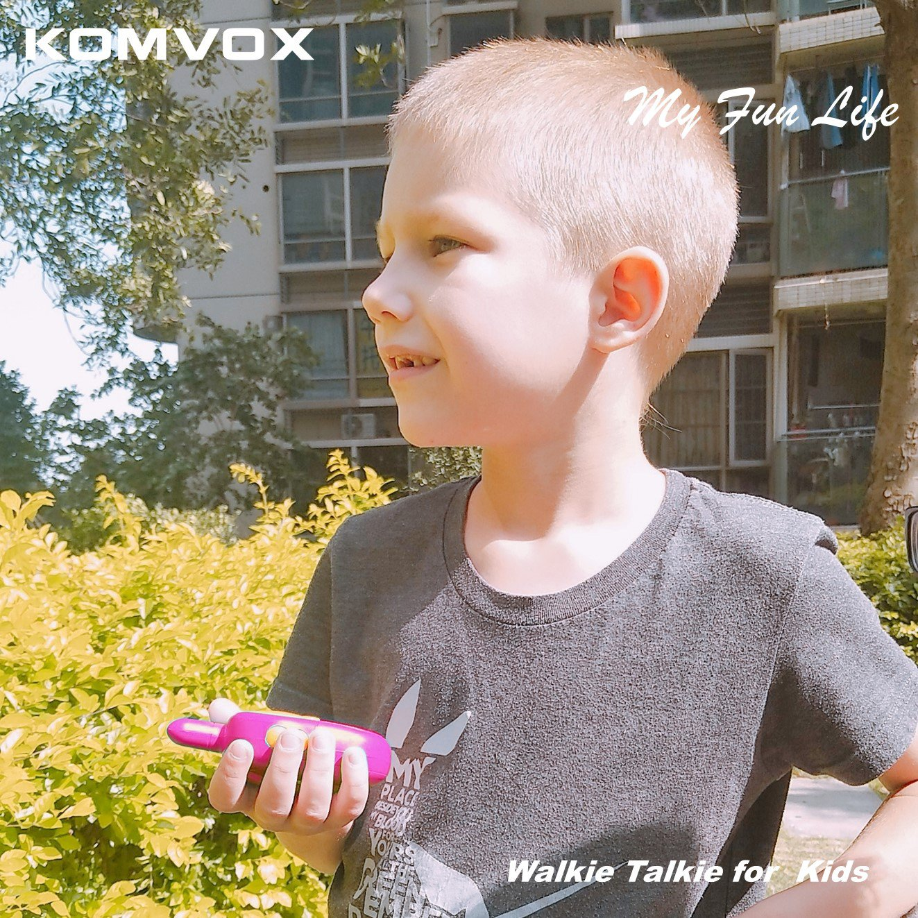 KOMVOX Walkie Talkies for Kids, Toys for Girls Age 3 4 5 6, Kids Birthday Gifts for 3 4 5 Year Old Girls, Top Toys for Girls Pink Gifts by KOMVOX (Image #7)