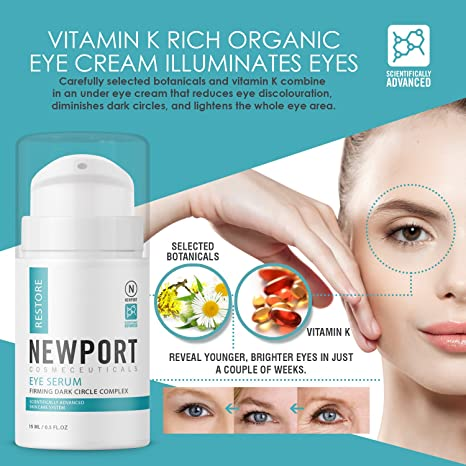 7d47fb49d53 Amazon.com: Eye Serum for Restorative Under Eye Bags Treatment with Vitamin  K, Cucumber, Aloe Vera and Chamomile for Dark Circles, Wrinkles and Puffy  Eyes: ...