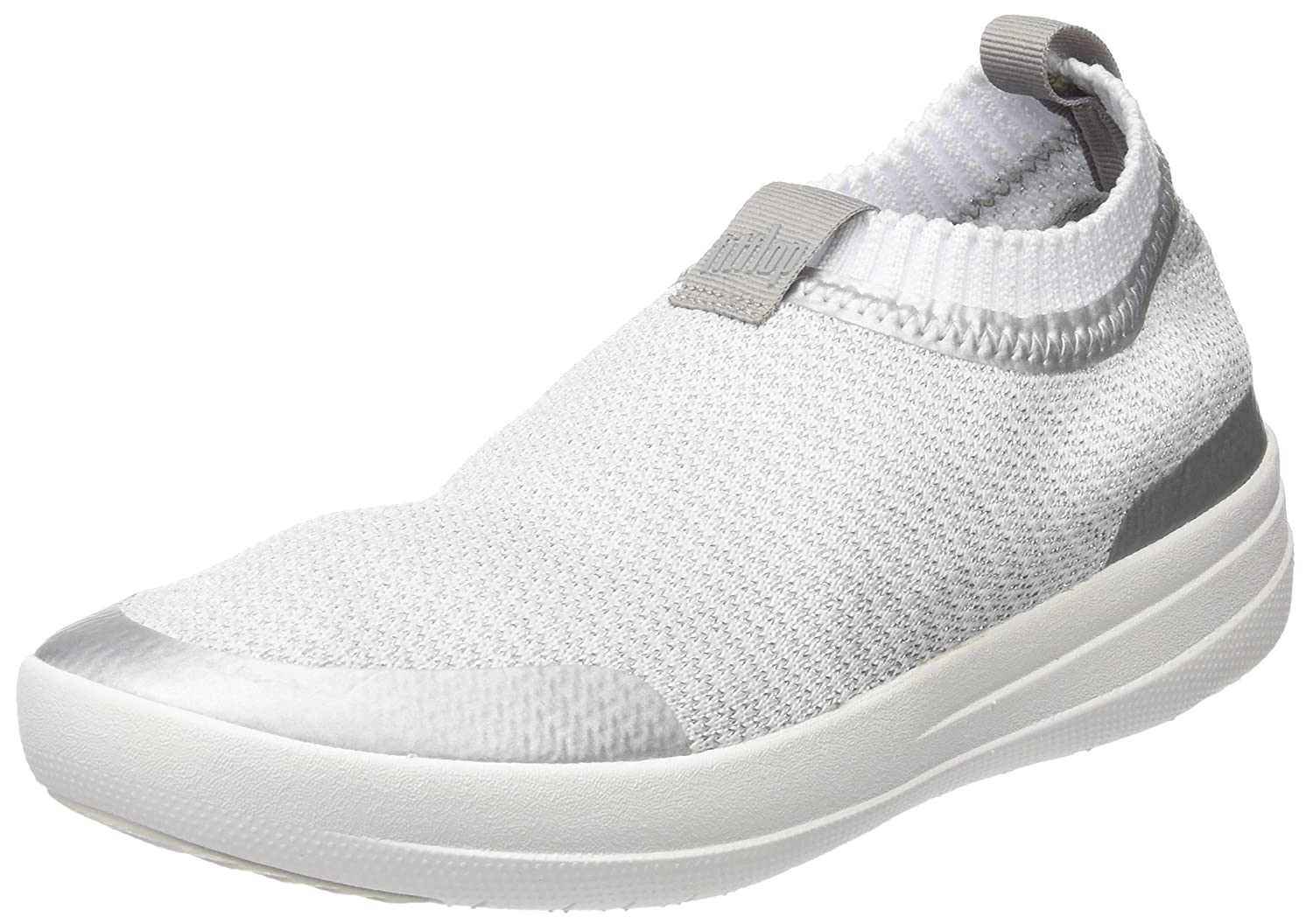 Fitflop Uberknit Slip-on Sneakers-Metallic, Zapatillas Altas para Mujer 38 EU|Multicolour (Metallic Silver/Urban White)