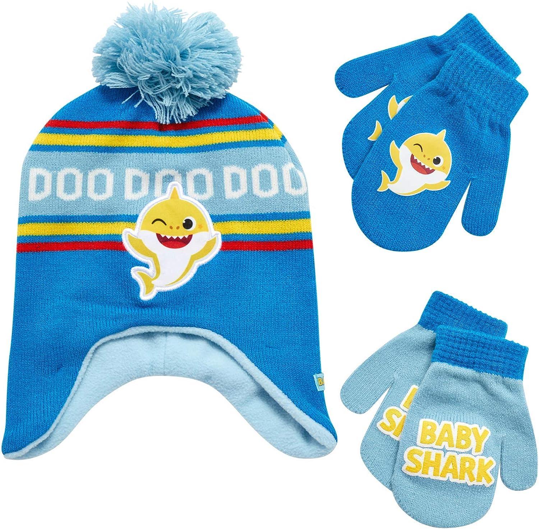 Nickelodeon Boys' Baby Shark Winter Hat and 2 Pairs of Mitten Set (Toddler)