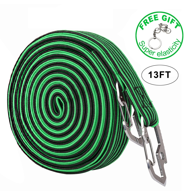 Elasticated Luggage Rope, Universal Heavy Duty Elastic Bicycle Rack Strap Bungee Cord with Carbon Steel Hook, 2 & 4 Meter Lengths (4 Colors)