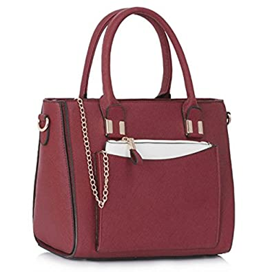 012994f1562 LeahWard Women's Celeb Style Tote Bags Ladies Handbags With Removable Pouch  Bag 313 (Purple/
