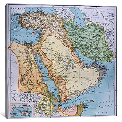 Icanvasart map of turkey middle east horn of africa and persian icanvasart map of turkey middle east horn of africa and persian gulf in the 1890s gumiabroncs Image collections