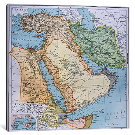 Amazon icanvasart map of turkey middle east horn of africa and icanvasart map of turkey middle east horn of africa and persian gulf in the 1890s gumiabroncs Image collections