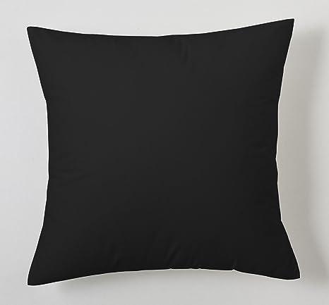 ESTELA - Funda de cojín Combi Lisos Color Negro - Medidas 40x40 cm. - 50% Algodón-50% Poliéster - 144 Hilos