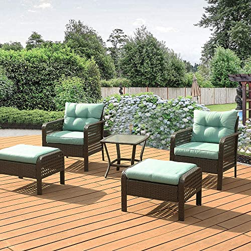 5 PCS Wicker Patio Furniture Set,All Weather Patio PE Wicker Patio Conversation Set of 2 Single Sofas,2 Ottoman,Glass Coffee Table,Durable Iron Frame Wicker Conversation Sofa
