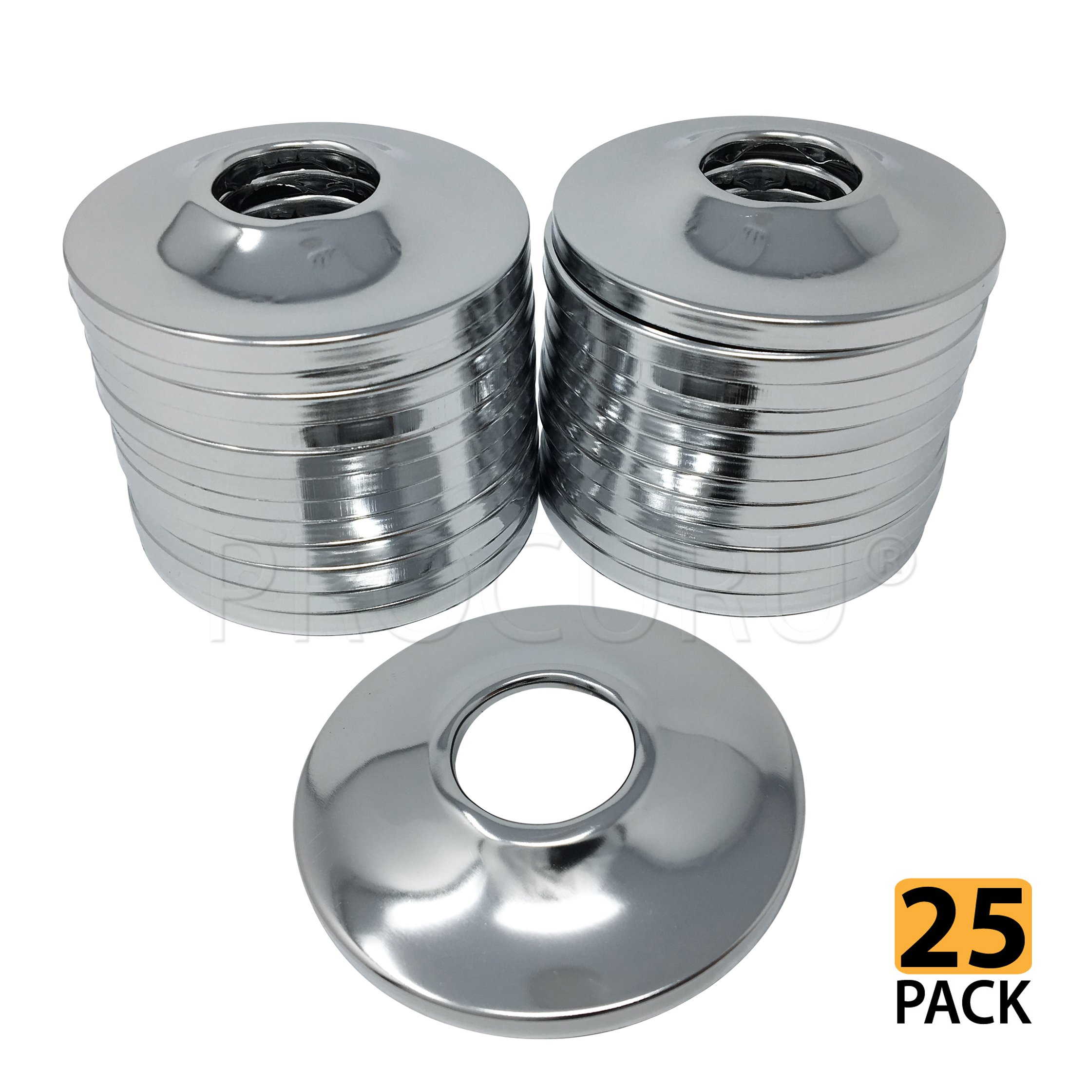 [25-Pack] PROCURU 1/2-Inch CTS Escutcheon Flange Plate Pipe Cover, Chrome-Plated Steel with SureGrip, for 1/2'' Copper Pipe