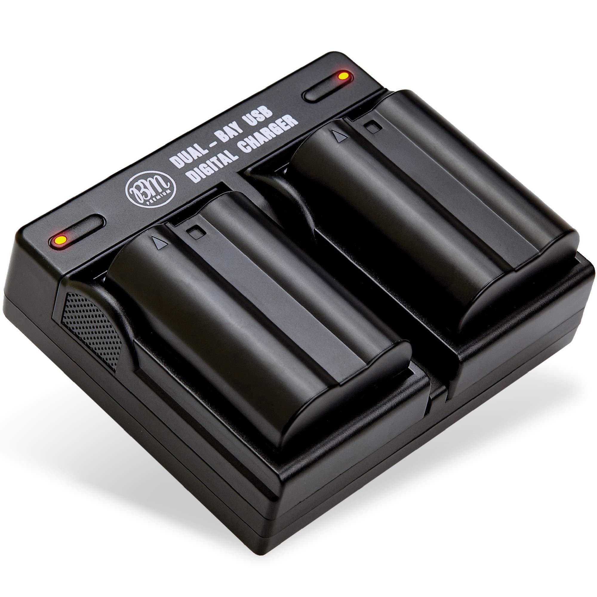 BM Premium 2 Pack of EN-EL15B Batteries and Dual Battery Charger for Nikon Z6, Z7, D850, D7500, 1 V1, D500, D600, D610, D750, D800, D800E, D810, D810A, D7000, D7100, D7200 Digital Cameras by BM Premium