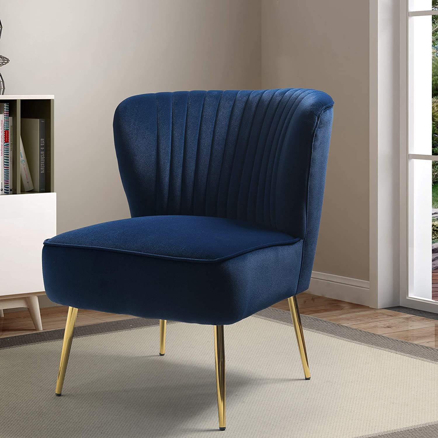 Modern Glam Velvet Armless Chair with Gold Metal Legs for Bedroom Chairs -  Navy Blue