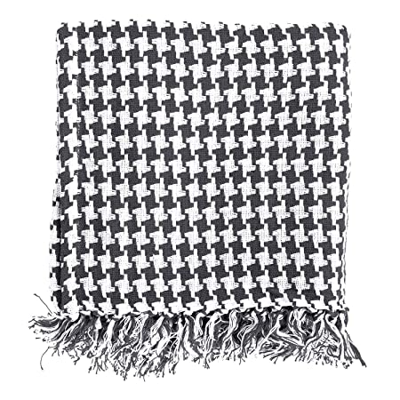Homescapes Large Black Houndstooth Throw 40 X 40 Inches Or 40cm X Best Black And White Houndstooth Throw Blanket