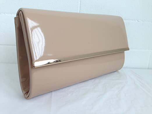 NEW WHITE PATENT EVENING CLUTCH BAG PROM WEDDING PARTY BRIDE CLUB NUDE SHINY