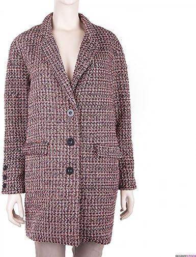 DDP Manteau Long Multicolore Effet Tweed Femme 40