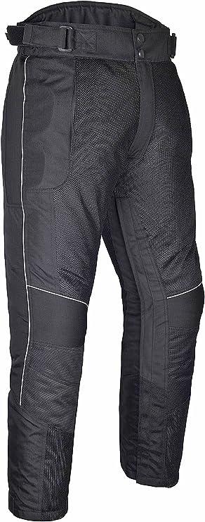 WICKED STOCK Mens Motorcycle Mesh Pants Full Leg Zipper Black